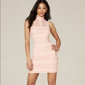 Bebe Lace Neck Bodycon Dress Pink